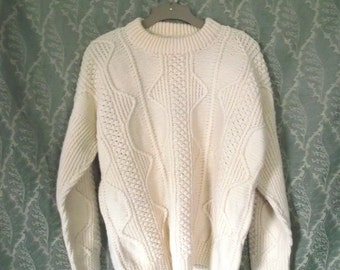 80s Irish Fishermans Sweater Mens Barnas Mor Sweater 48 Inch Chest