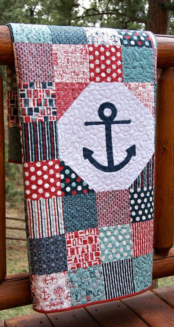 Baby Nash S Vintage Nautical Nursery: Quilt Baby Toddler Anchor Nautical Crib Nursery By