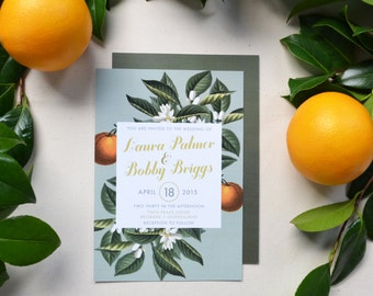 Vintage Botanical Fruit and Floral Wedding Invitations • Orange and Olive Custom Printable Stationery