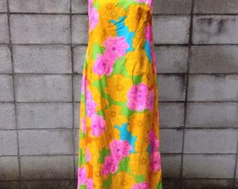 Maxi Dress Vintage 1970s Hawaiian Kalama Fashions Tent Aline Long Floral