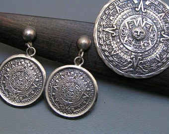 Mexican Mexico Silver Earrings . Pendant .Pin / brooch sterling silver Aztec calendar jewelry