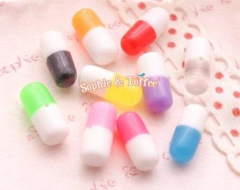 Colourful Fake Happy Pills   Miniature Pills   Pills Charm   Decoden Pieces - 10pcs