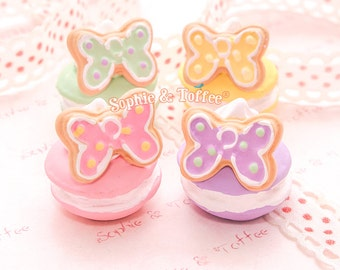 Pastel Macaroon with Butterfly Cookie Cream Miniature | Macaron Charm | MiniatureSweet - 4pc