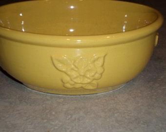 embossed primrose wild rose flower little vintage yellow USA pottery Bowl, planter, bulb dish