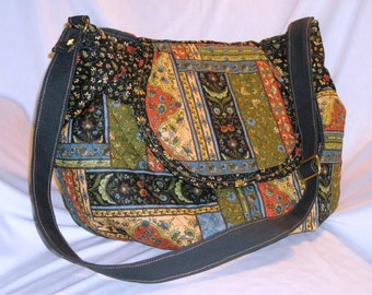 Purse Shoulder Large Bag Flap Quilted Patchwork-Look Slouchy Adjustable Strap Pockets