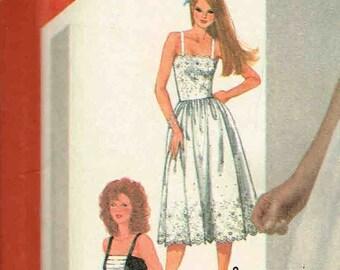 Sundress Fitted Bodice Dress Gathered Skirt Shoulder Straps Jacket Vintage Simplicity 5892 Sewing Pattern Misses Vintage 1980s Bust 34