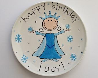 happy birthday frozen inspired ceramic cake plate for girls