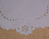 Antique Round Doily Made of Linen with Hand Embroidery