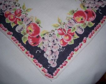 Vintage Blue and White Hanky with Fruit and Handrolled Hem
