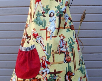 Cowgirl - Pinup - Apron - Adult Sized - Fully Lined - Adjustable