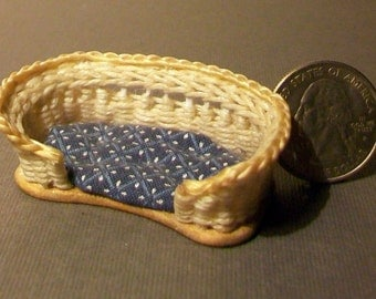 Miniature Woven Wicker Pet Bed   1:12 scale