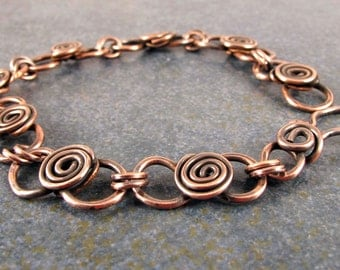 Swirl Bracelet, Copper, Everyday wear, Great Gift, hand crafted, Jewelry