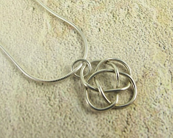 Small Sterling Silver Celtic Knot Necklace Handmade, birthday, holiday, anniversary, wedding, gift