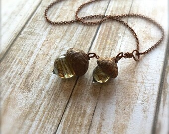 Glass Acorn Necklace: Woodland Doubles by Bullseyebeads