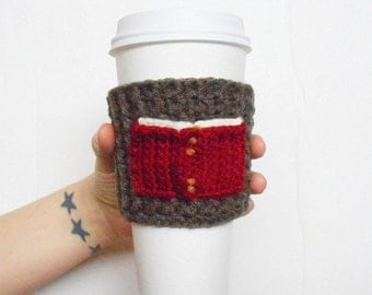 Book Lover Crochet Coffee Cozy, in Brown and Maroon, ready to ship.