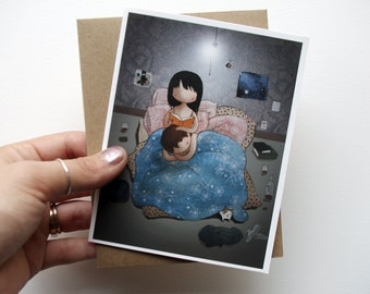 Bedtime Story - cute blank greeting card with envelope