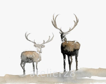 giclee art print of a watercolor painting of two reindeer