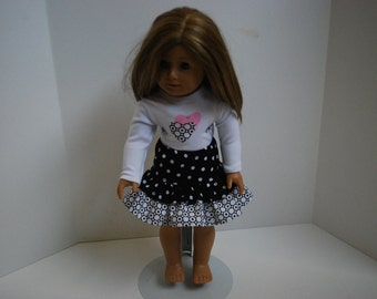 18 Inch Doll Clothes for American Girl - 2 Pc Hearts and Polka Dots Outfit