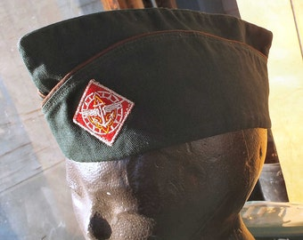 Vintage Boy Scout garrison cap, Explorer Scout, sea air, BSA, size large, green hat brown piping, embroidered insignia