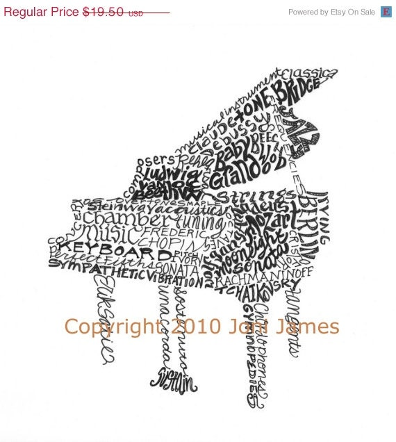 Pen and Ink Baby Grand Piano Art Calligraphy Drawing, Musical Instrument Art Calligram Typography Drawing, Word Art Print, Piano Drawing