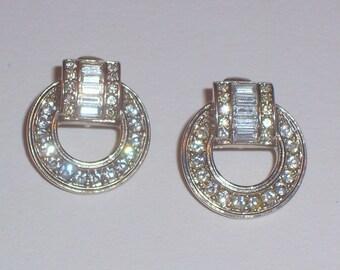 Vintage Avon Rhinestone Earrings - Clip Ons