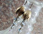 Tulip Chandelier Dangle Bridal Earrings Antiqued Brass and Swarovski Crystals AB