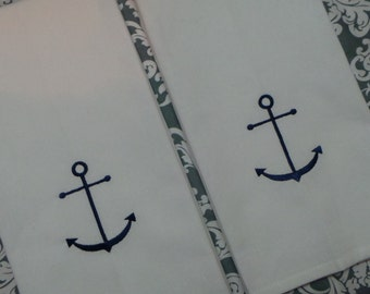 Anchor hand towels 2 embroidered Boat towels Nautical kitchen towels. You can choose thread color.