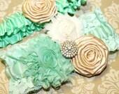 Wedding Garter Set, Mint and Gold Garter, Lace Garter, Mint and Gold Wedding, Mint Garter, Gold Rhinestone, Custom Garter, Custom Size