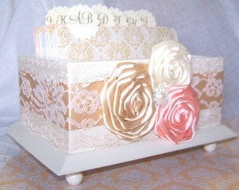GUEST Book Box, Ivory Gloss Box, Dividers, Peach, Ivory, Gold, Advice Box, Card Box, Special Wishes, Lace, Damask