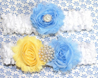 Cornflower Blue and Yellow, Lace Garter, Yellow and Blue Wedding, Shabby Flowers, Pearls and White Lace, Custom colors, Custom Size garter