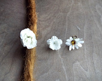 Shades of White Flower Dangle Charm Bead Antiques Brass  Dreadlock Accessory Extension Accessories Dread Boho Bohemian Hippie