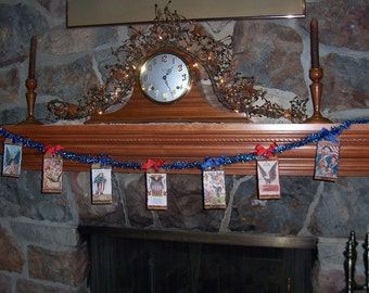 Primitive Patriotic Americana Party Garland JULY 4TH Banner Swag with Vintage Images on Prim Glittered Tags on Vntg Tinsel OFG HAFair FAAP