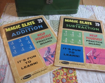 Two Vintage 1960 Math Magic Slates Addition and Subtraction