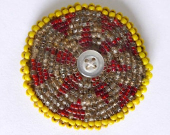 Small Afghan Kuchi Medallion | Vintage Beaded Afghani Patch | Yellow White Red | Tribal Disc | Gul-i-peron Dress Flower | 2 inches
