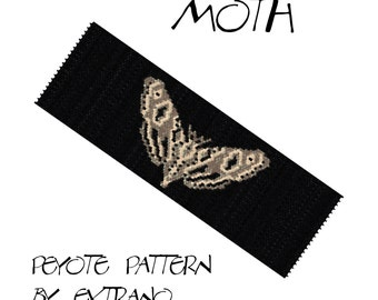 Peyote Bracelet Pattern by Extrano - MOTH - 3 colors ONLY - Instant download