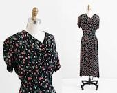 vintage 1940s dress / 40s dress / Black and Pink Roses Swing Dress