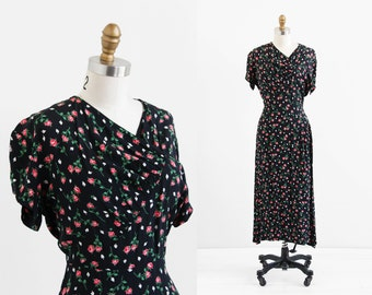 vintage 1940s dress / 40s dress / Black and Pink Roses Swing Dress