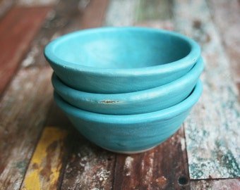Small Turquoise Pottery Bowls Handmade Rustic Prep Bowls Set of Three Ceramic Pottery Bowls