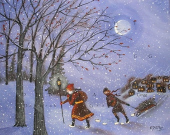 Shall Yourselves Find Blessing a snowy, Winter Christmas Print by Deborah Gregg