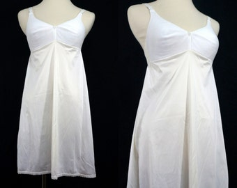 1960s Bra Slip Mini Sears White Small Petite Short Full Slip NOS