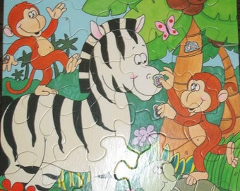 Vintage Springbok Monkey Business Zoo Zebra Turtle Children's Jigsaw Puzzle