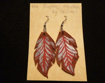 The 'Rustic Feather' Hand cut and Hand painted Suede Leather Dangle Earrings in Silver and Red