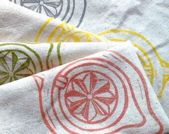 Cloth Napkins/Handmade/Hand-Printed Cloth Napkins/Block Printed/Set of 4/4 color juicer motif/FREE SHIPPING