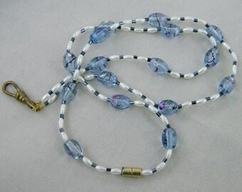 Handmade Badge Lanyard - Shades of Blue by JewelryArtistry - L184