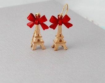 Red Gold Eiffel tower earrings