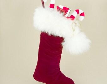 Luxury Christmas Stocking in Wine Velvet, Silk, Fur, Reversible