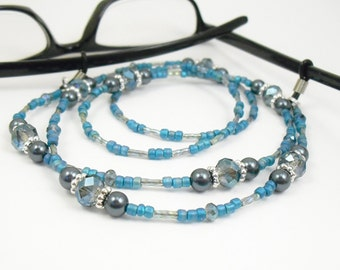 Blue Crystal Glass and Tahitian Look Swarovski Pearl Eyeglass Lanyard, Eyeglass Leash/Necklace