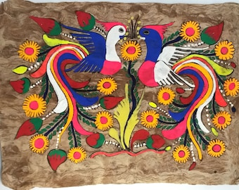 MEXICAN BARK PAINTINGS, large birds of paradise horizontal, handmade art, indigenous people of Mexico, folk art, vibrant, Otomi Indians