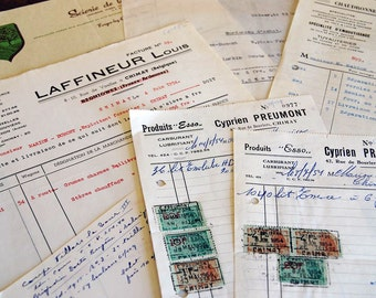 vintage receipts in French from Belgium, 1950s with cancelled stamps