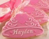 Personalized Crown or Tiara Cookies, Princess Party - 12 Decorated Sugar Cookie Favors